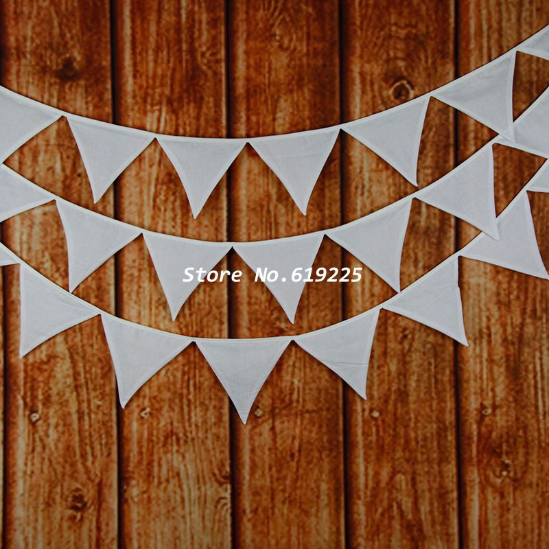Plain White Bunting Decor Cotton Fabric Banner Vintage Home Garden Wedding Decorations 12 Flags Photo Prop Easter Pennant(China (Mainland))