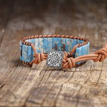 Bracelet Boho en forme de Tube de sédiment de mer en pierre naturelle Bracelet en cuir unique en pierre Semi précieuse bijoux en perles pour femmes(China)