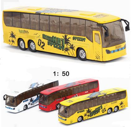 1:50 Scale Pull Back City Bus Models Toy Car Sightseeing Tour Bus Car Model With /Light&Sound Gift Toy Cars Bus Toys(China (Mainland))