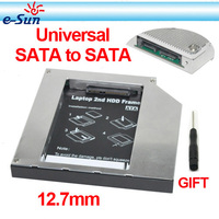 Brand new SATA to SATA 12.7mm Universal Aluminum 2nd hdd caddy For Laptops Free shipping