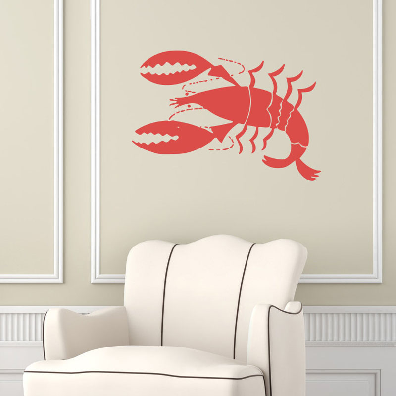 Vinyl Adhesive Lobster Wall Stickers Home Decor Living Room Wall Decals Sofa Background Decorative(China (Mainland))
