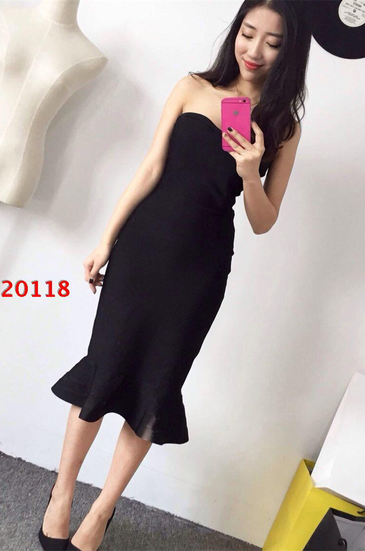 2015 new style black strapless fluted hem length bandage dress /nudegrey/red/white - GUANGZHOU BOUTIQUE CO,,LTD store