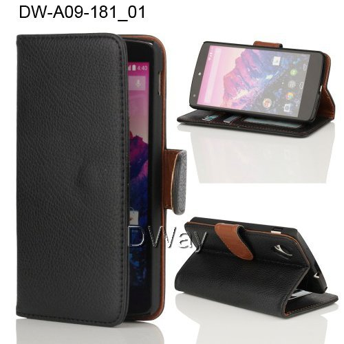 Nexus 5 PU Leather Wallet Stand Case For LG Nexus 5 E980 Flip Cover with Card holder Black 30PCS Free Shipping Nexus 5 E980 Case