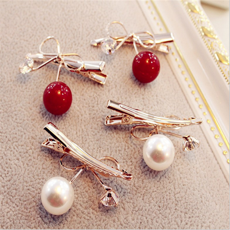 2016 Special Offer %2016 New Luxury Brand Cute Pearl Hair Clips Women Bangs Fashion Zircon Cherry Mini Clip Jewelry Accessories(China (Mainland))