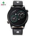 Sport Watches Men Fashion Dual Time Design Male Wristwatch 2017 Casual Leather Waterproof Outdoor Round Analog