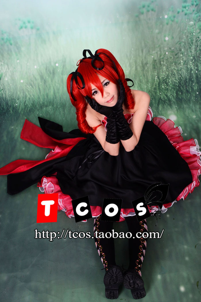 Free shipping! Newest! Vocaloid Teto Kiss Me black red formal dress Cosplay Costume ,Perfect custom for you!Одежда и ак�е��уары<br><br><br>Aliexpress