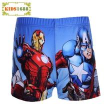 2016 Boys Baby Swimwear Cartoon American Captain Hulk Iron Man Pattern Swim Pants Ocean Style For Boys Swimwear Kids Swim Trunks(China (Mainland))