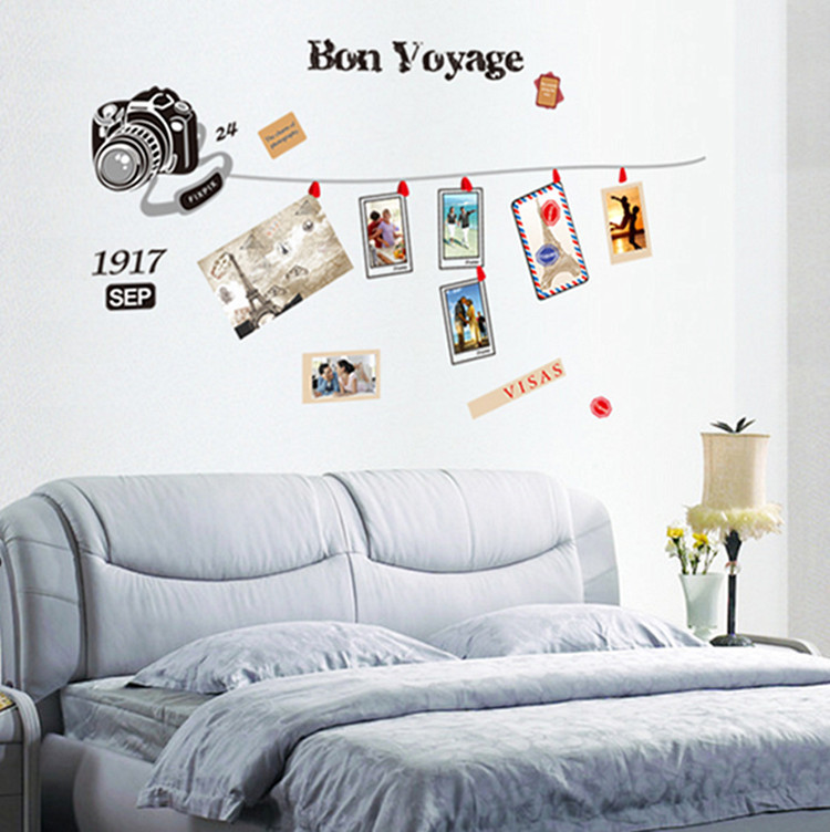 Vintage camera bedroom WALL STICKER photo wall glass porch and the combination of Decorative stickers Stickers(China (Mainland))