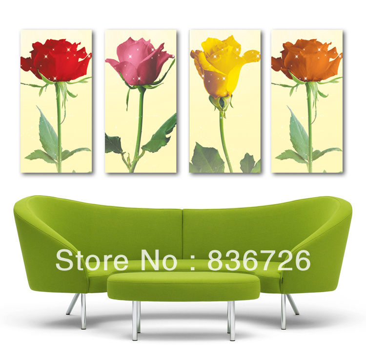 Free shipping 4 piece canvas art Paintings for living room wall Home decoration wall art Large wall decor Floral wall art(China (Mainland))