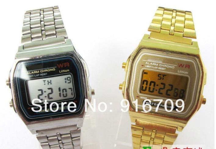 wholesale F-91W Metal watch Electronic watches LED watch ultra-thin wrist watch(China (Mainland))