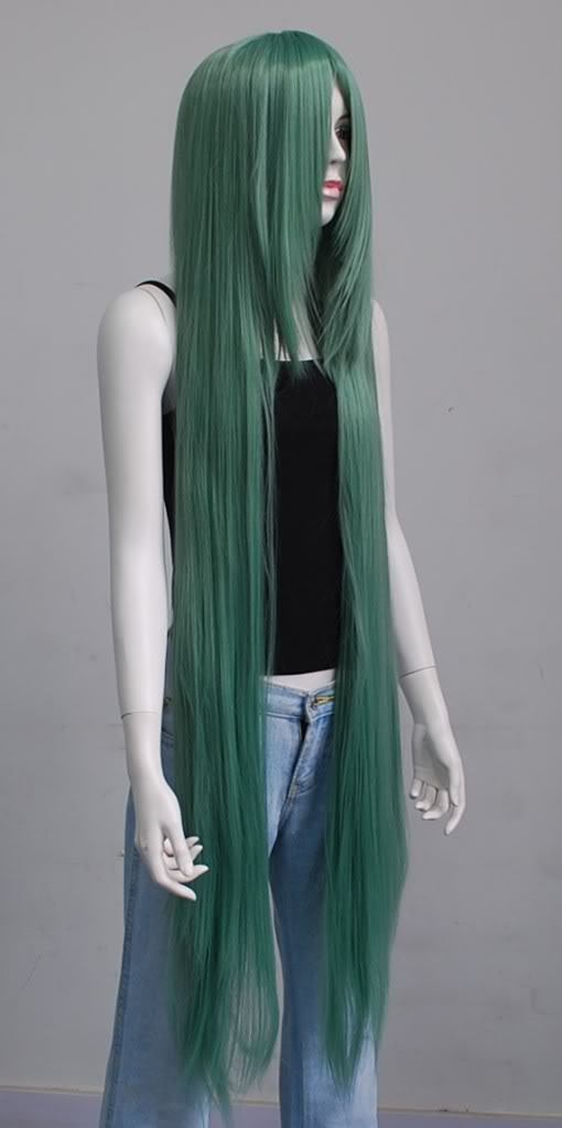 130cm Long Straight Halloween Green Bang HI Temp Cosplay Party Hair Wig for women wig fast deliver<br><br>Aliexpress