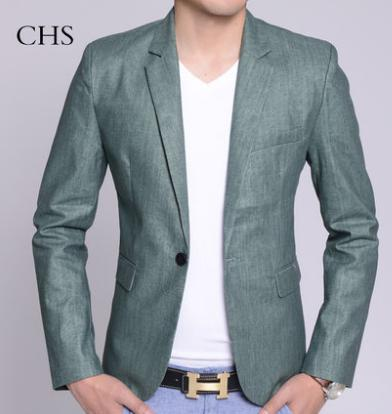 Korean summer green Thin section flax blazers man casual suit slim fit men blazer single breasted male jacket New Design M - 3XL Fashion clothes store wang