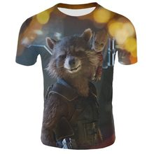 حراس غالاكسي لطيف الصواريخ الراكون الطفل Groot 3D تي شيرت مطبوع الرجال/المرأة الأزياء س الرقبة التي شيرت بوي الملابس قمم T قميص(China)