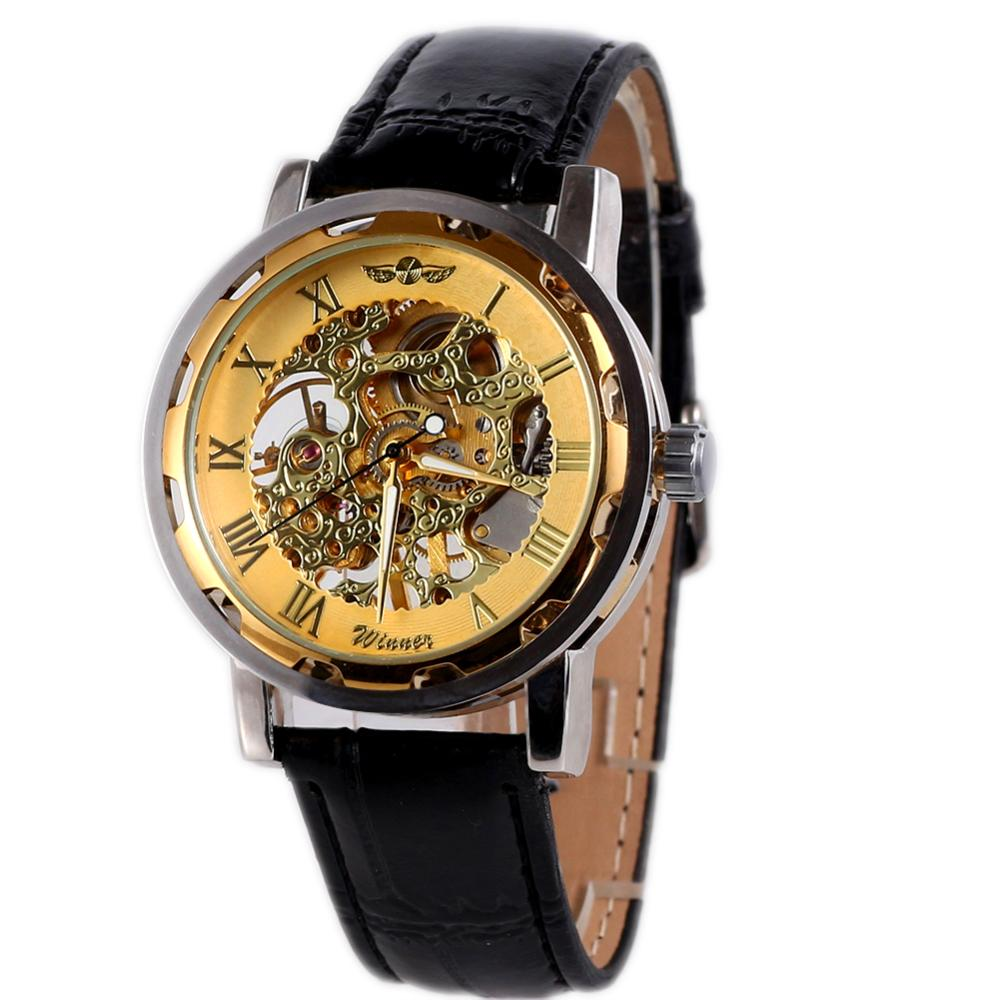 2015 New Classic Men's Black Leather Golden Dial Mechanical Sport Army Luxury Accurate Wrist Watch - cn1510659978 store