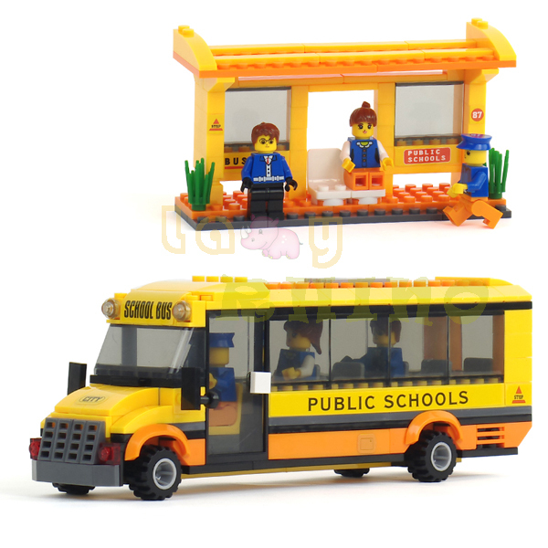 2014 NEW Happy School Bus 293pcs Small Particles DIY Building Blocks compatible with Lego LR-11(China (Mainland))