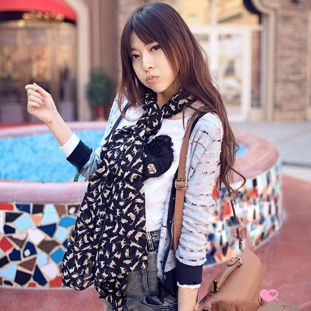 Мода девушки супер-шик женской дешевые длинный шифоновый шарф шали украл мягкая шарфы кошка черно-белой печать высокое качество