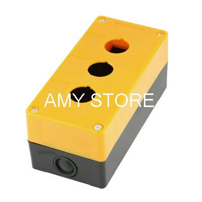 Orange Black Plastic 22mm Diameter Hole 3-Buttons Switch Control Station Box(China (Mainland))
