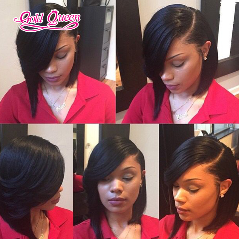 New!side bang lace front wig short bob wigs for black women human hair side parts bob wig with ...