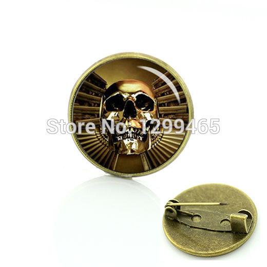 New Elegant Design Gothic gun & skull Golden Skull creative badge Promotion Human Skull gun pin Day of the Dead brooches C 956(China (Mainland))
