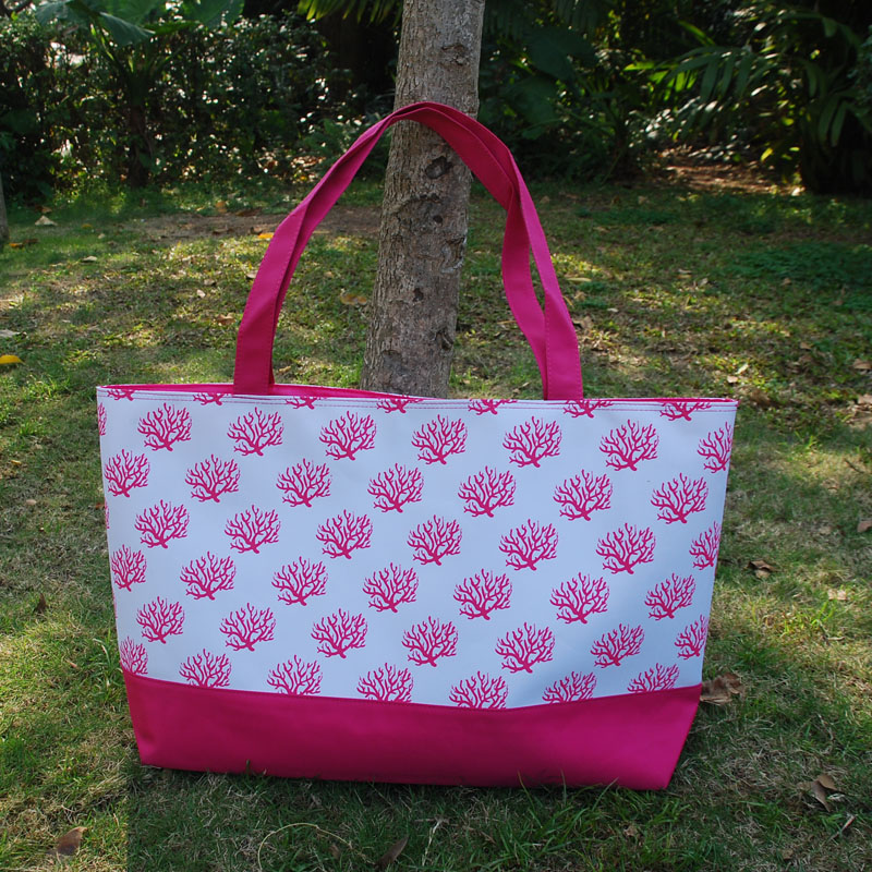 Free Shipping Pink Coral Tote Summer Beach Tote Wholesale Large Navy Coral Design Tote Bags With Many Colors DOMIL-10108048(China (Mainland))
