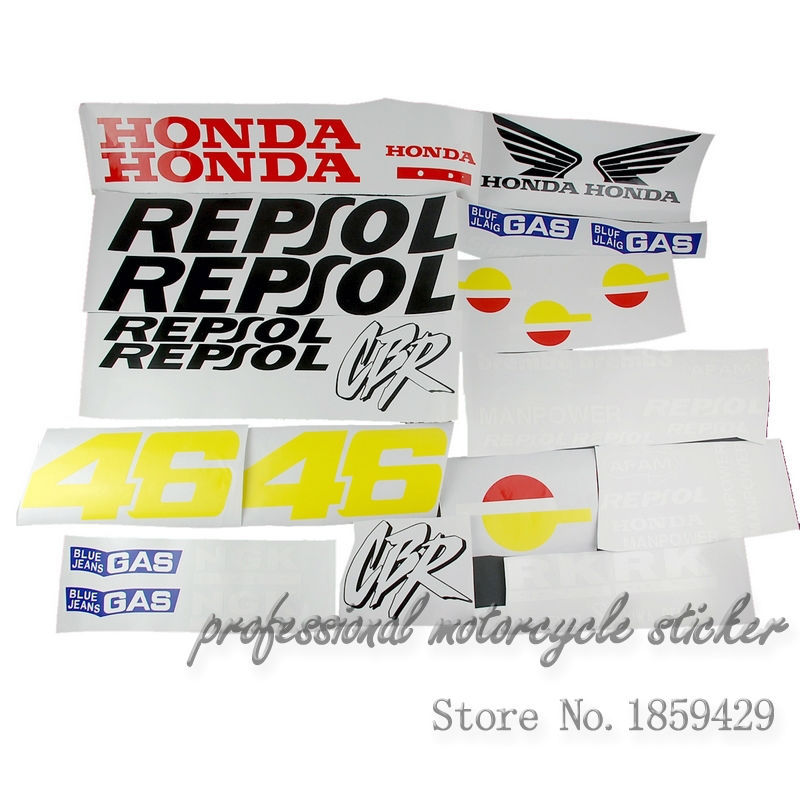 Free shipping Racing motorcycle applique decals fuel tank sticker Set For Honda CBR250 CBR400 VFR400(China (Mainland))