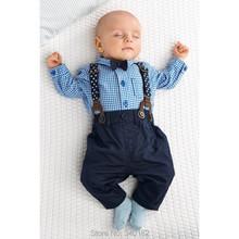 2015 autunno del neonato vestiti vestiti del bambino stile gentleman bow tie + plaid shirt + bib baby boy vestiti set trasporto libero(China (Mainland))