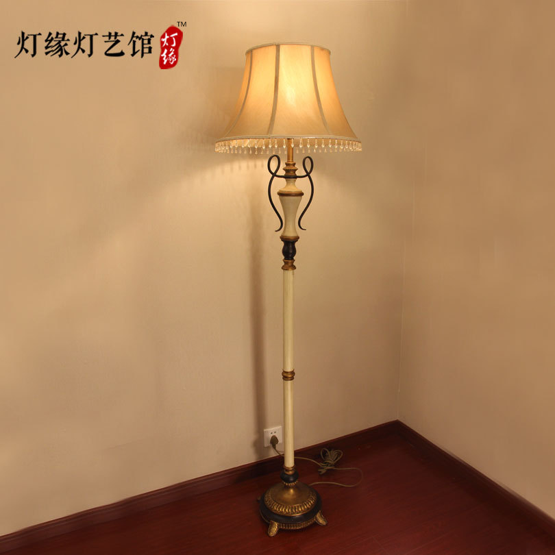 American Country Beige Silk Floor Lamp Cover European Style Garden Bedroom Living Room European