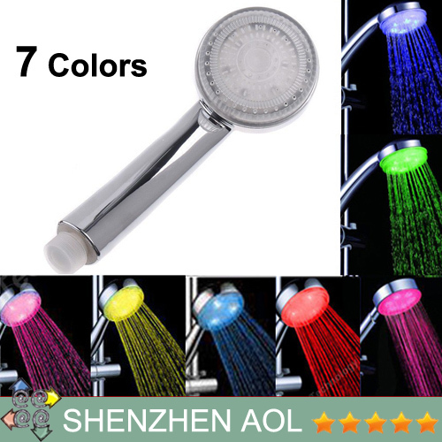 5pcs/lot AS1302 Hot 6 LED Shower Head No need batteries 7 Color Changing Colorful Flower Sprinkling Novelty xmas gifts(China (Mainland))