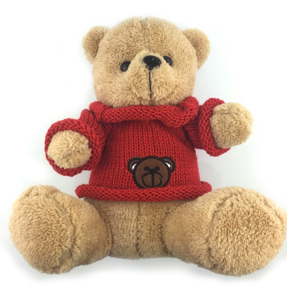 30CM Super Soft Teddy Bear Plush Toys Red Sweater Bear Toy Children Love Stuffed Dolls Best Price Very Good Quality NT085E(China (Mainland))