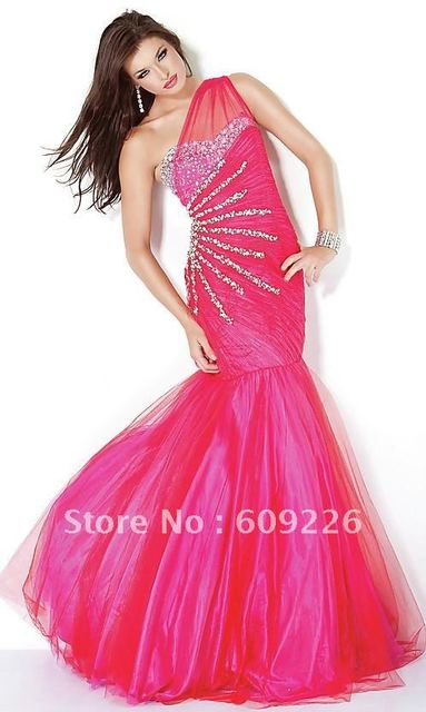 2012 Floor Length One Shoulder Mermaid Prom Dress with Beaded Bust, Ruched Bodice, and Drop Waistline