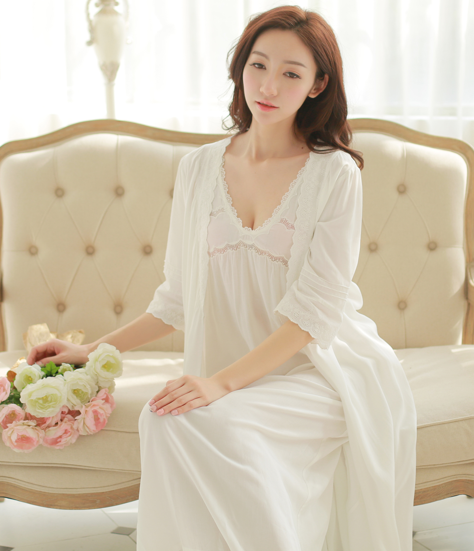Contemporary Cotton Gown And Robe Sets Ornament - Images for wedding ...