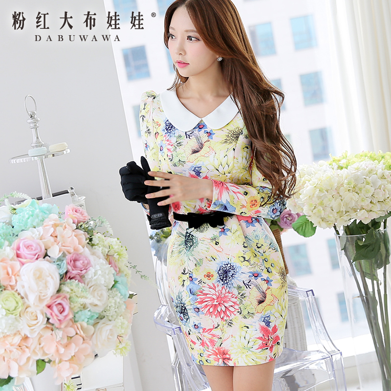 2014 Winter Dress Pink Doll New Tide lady beautiful  stamp show thin long sleeved dressОдежда и ак�е��уары<br><br><br>Aliexpress