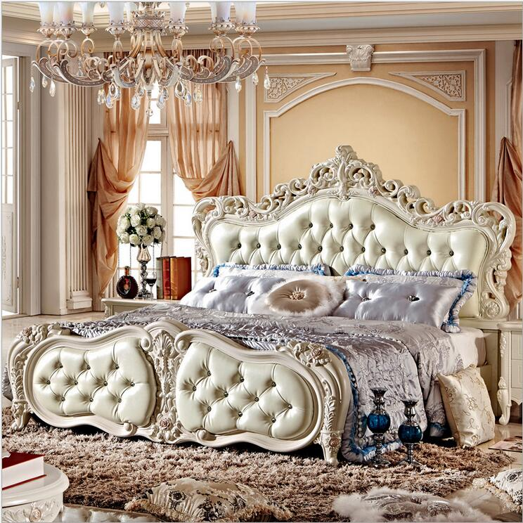 modern european solid wood bed Fashion Carved leather french bedroom furniture 10026(China (Mainland))