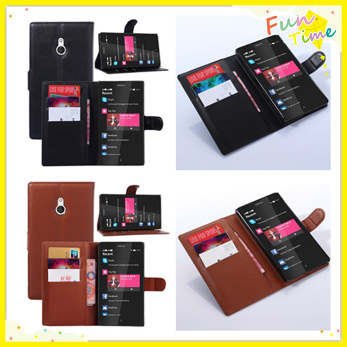 Nokia XL Litchi Pattern Wallet Magnetic Flip Stand leather case Protective Cover nokia xl - Shen Zhen Kingma Electronic Co., Ltd store