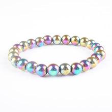 """8x8mm mão bonita pulseiras pulseiras corda elástica corrente natural pedra solta contas pulseira 7.5 """"l(China)"""
