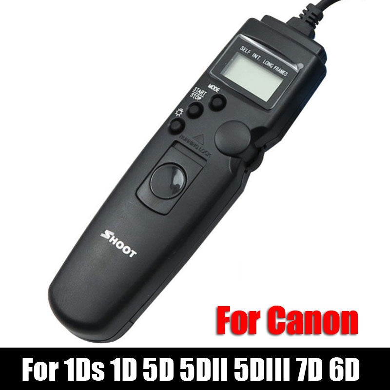 Shoot TC-80N3 LED Selfie LCD Timer Remote Control Shutter Release Cable For Canon EOS 1Ds 1D 5D 5DII 5D III 7D 6D DSLR Camera