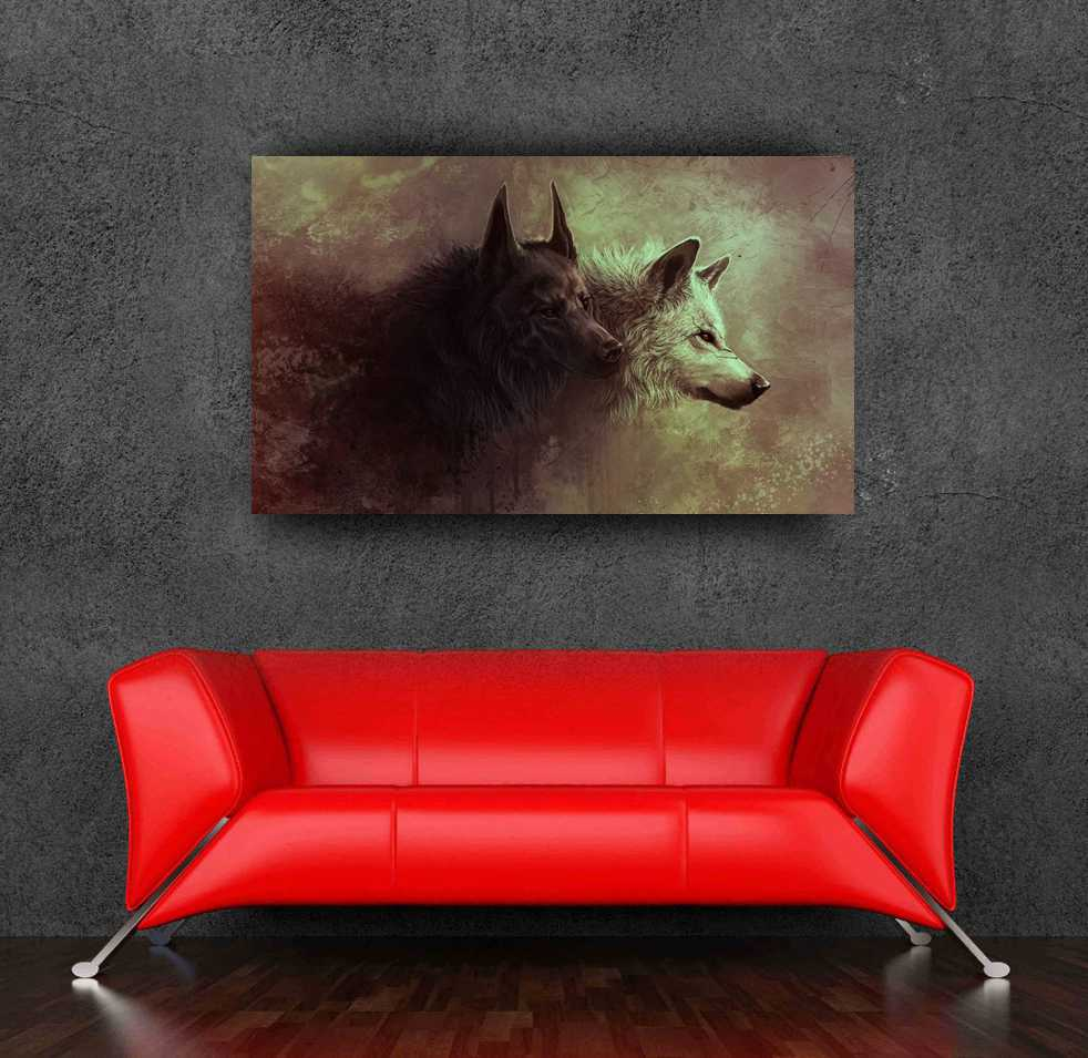 (24x36) Black White Wolf Illusory Art Poster Print Wall Sticker Home Decor - Bang&Wil Canvas and Store store