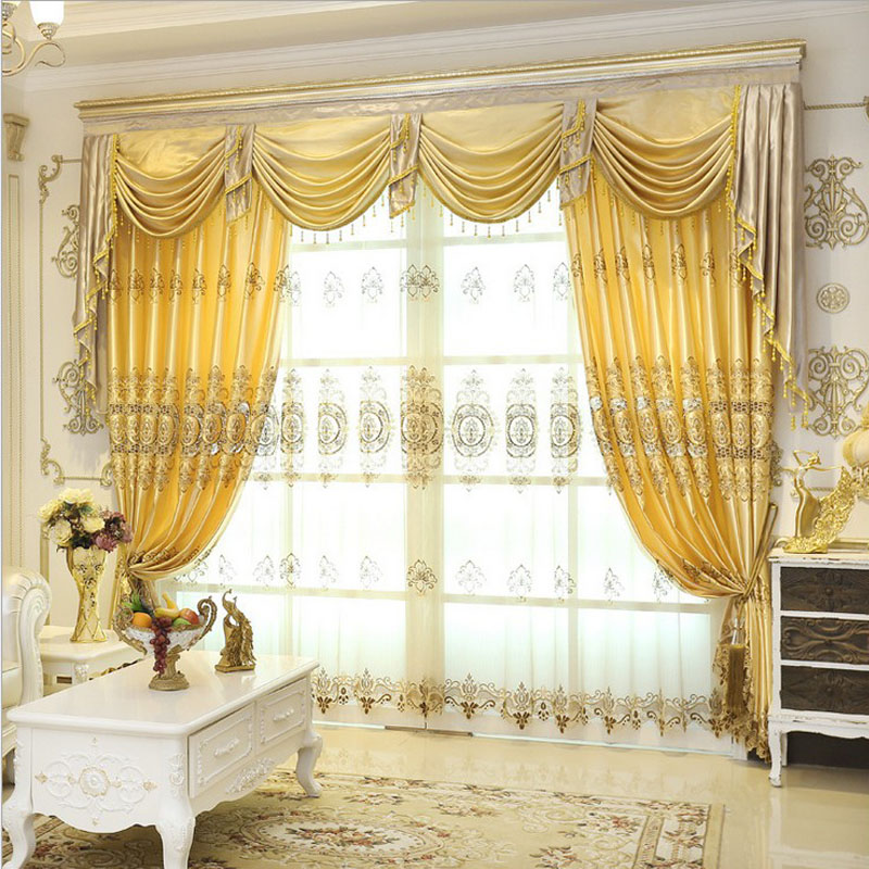 jacquard curtains for living room window valance europe style curtains