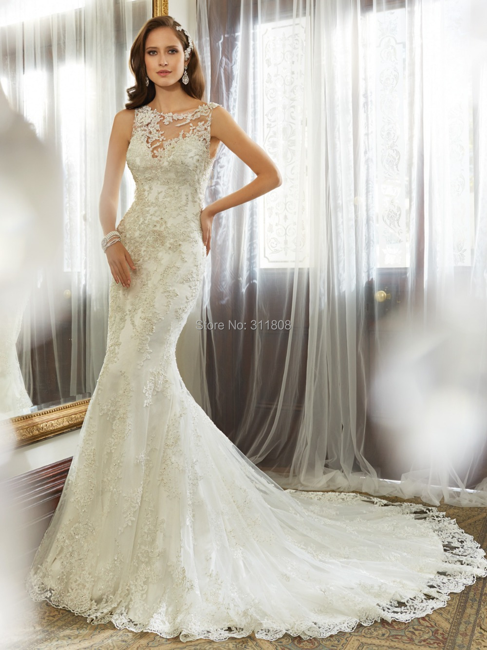 Mermaid bridal gowns high neck low back beaded lace for Beaded wedding dress designers