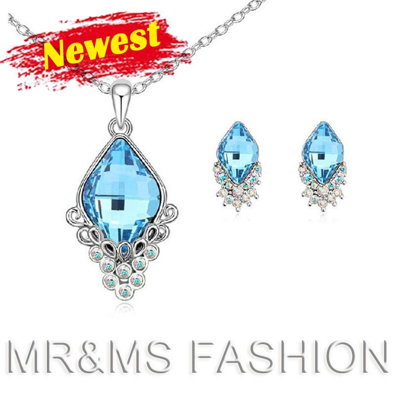 factory austrian crystal necklace+earrings fashion women best gift 18k white plated jewelry set YK0012 - CHINA CRAFT OF WOW-KING store