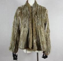 Harppihop vrai manteau de fourrure de lapin femmes naturel réel lapin veste de fourrure gilet/vestes lapin tricoté hiver chaud manteau harppihop(China)