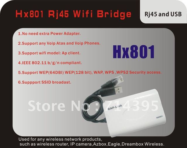 Free Shipping  HX801 RJ45 Mini free driver Wireless Bridge For Dreambox Xbox PS3 PC Camera TV ,Wifi Adapter with Retail Box