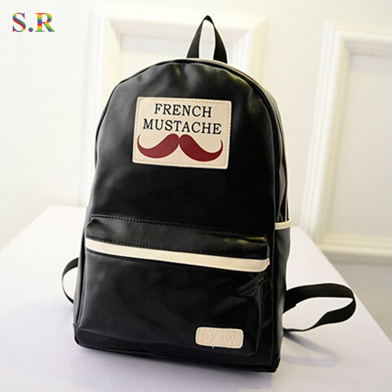Fashion 2015 Preppy Style Shoulder Bags Women Pu Leather Backpack Mustache Printing School Backpacks Mochila Girls Hotsale PU17 - MIWIND Online Store store