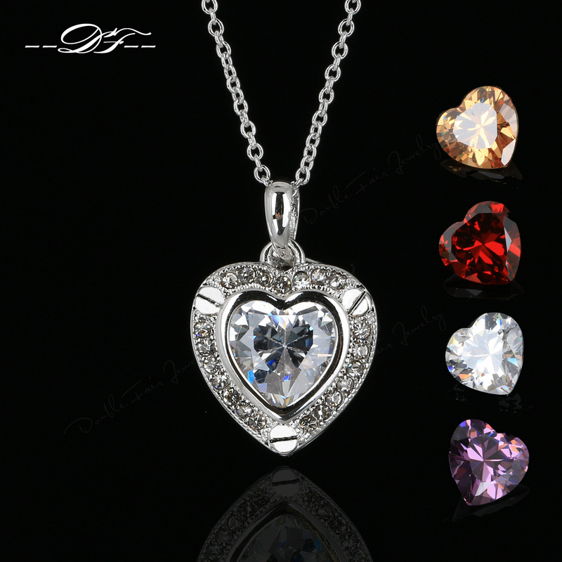 2015 New Love Heart 4 Color Crystal 1 Chain Necklaces&Pendants White Gold Plated CZ Diamond Vintage Jewelry Women DFN167 - DOUBLE FAIR Official Store store