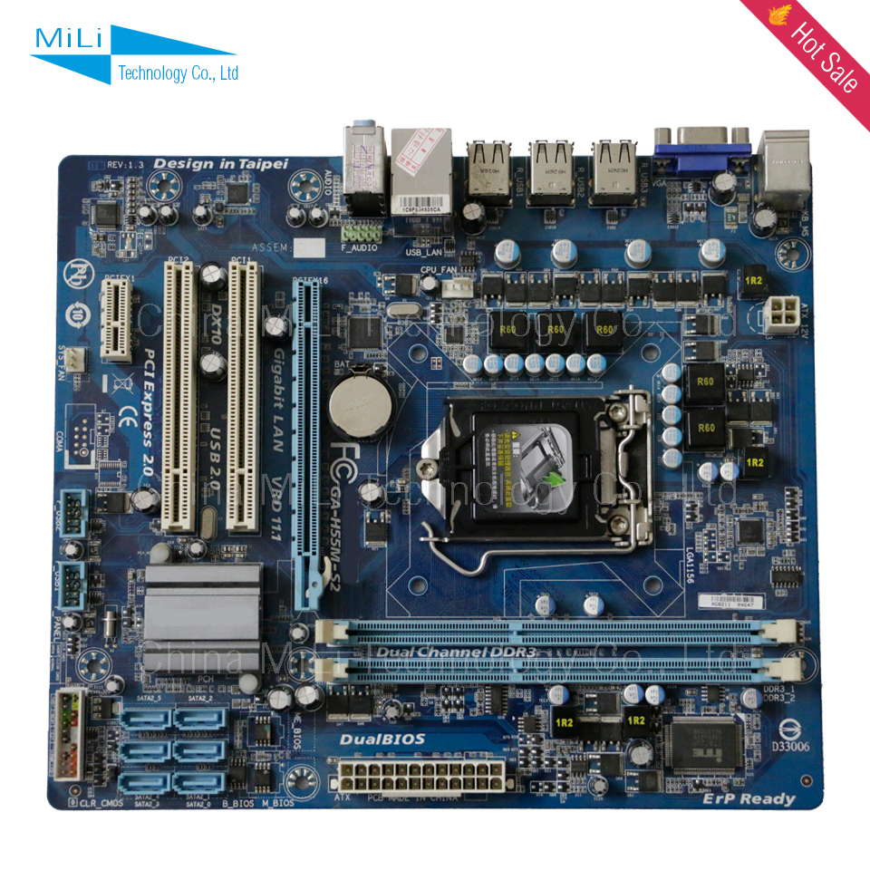 GA-H55M-S2 LGA1156 90% new for Gigabyte H55M-S2 H55 Desktop motherborad 1156 DDR3 8G for I3 I5 I7cpu on sale<br><br>Aliexpress