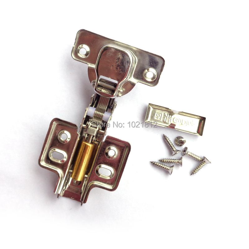 1 Pair Half overlay Hydraulic Cabinet Hinge 304 Stainless Steel Hinge Soft Close Brass Buffering Fixed Base(China (Mainland))