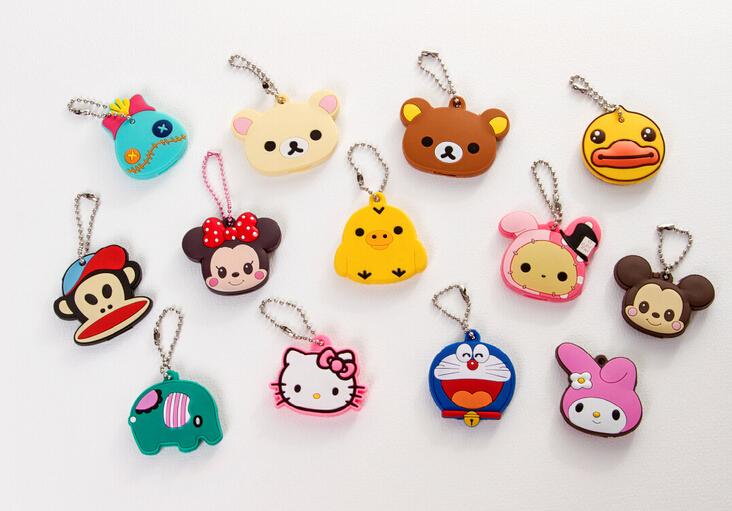 Kawaii Animal Silicon Key Caps Covers Keys Keychain Case Shell Novelty Item,Christmas Gift KCS(China (Mainland))