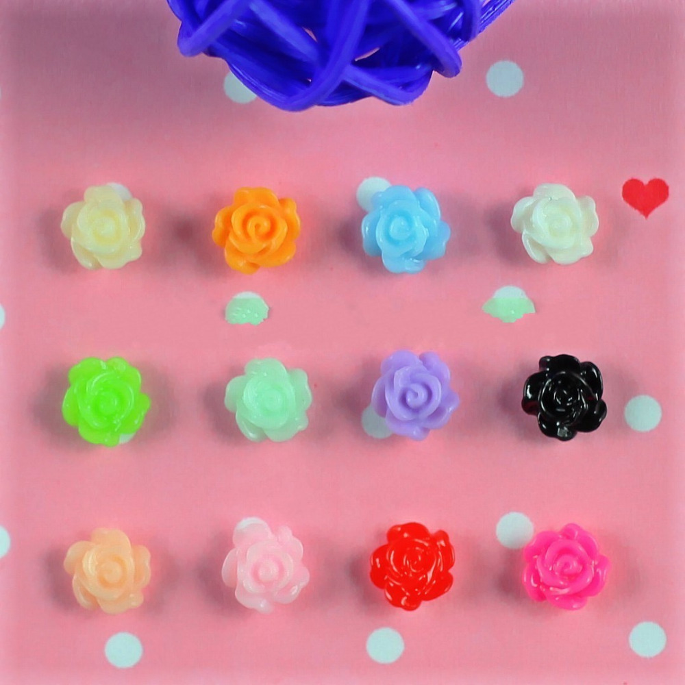 50 Pcs/lot 12 Colirs DIY 3D Resin Flowers Nail Art Decorations Roses Nails Tools JH030 (Black White Pink Red Yellow Blue Green)(China (Mainland))
