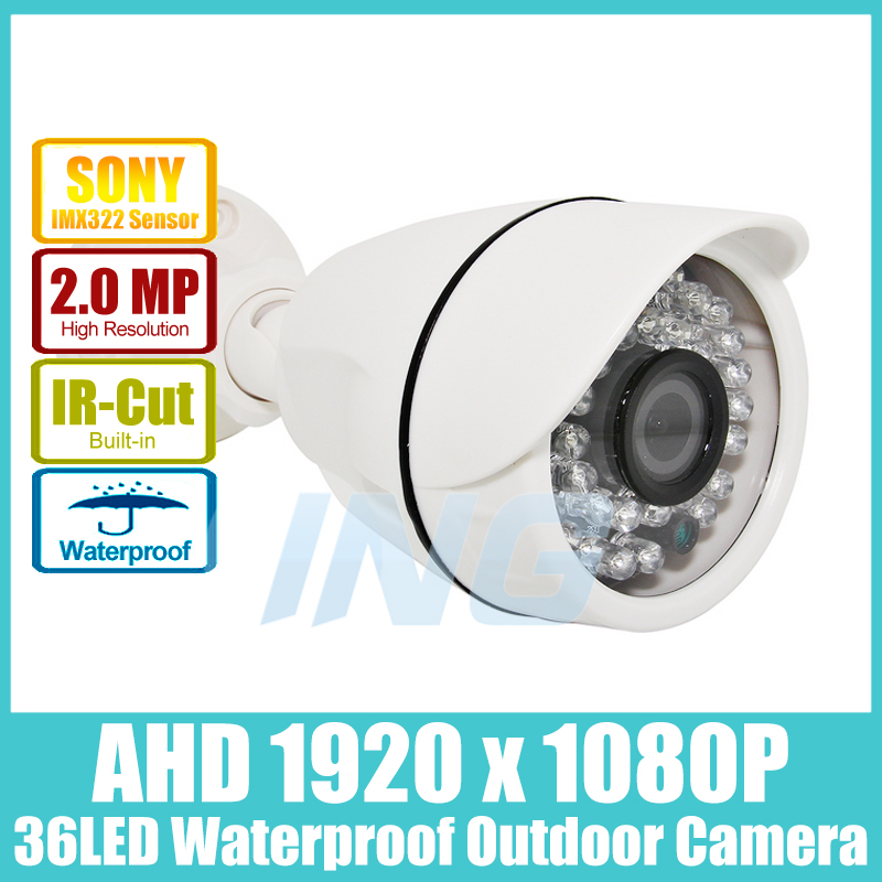 Waterproof FHD 1920 x 1080P 2.0MP AHD Bullet Camera Sony IMX322 36LED IR Outdoor Security Camera Night Vision CCTV Cam w/IR-Cut(China (Mainland))