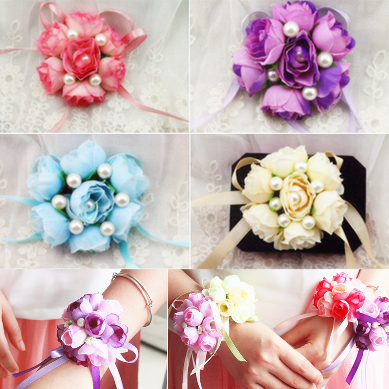 Ivory Wrist Bridesmaid Bridal Corsage Hand Ribbon Rose Flower Bouquet Wedding Supplies Party Decor 6 Colors(China (Mainland))